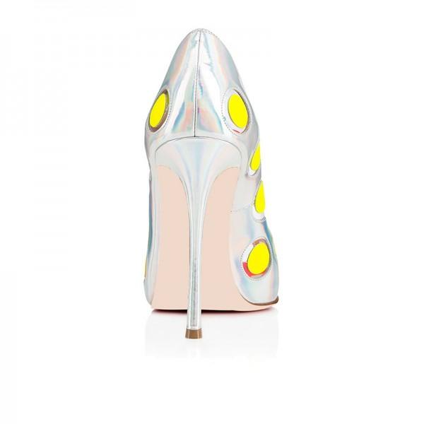 silver-hologram-stiletto-heels-yellow-dots-pumps