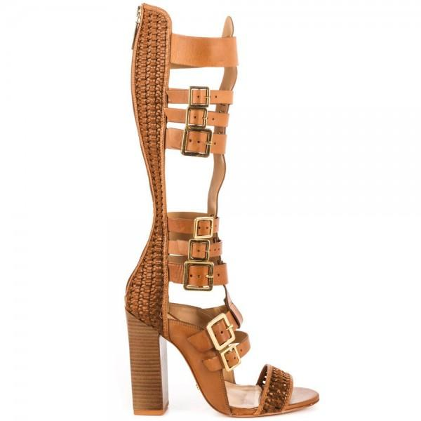 tan-gladiator-sandals-open-toe-knee-high-chunky-heels-with-buckles