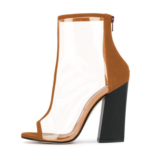 Clear PVC Super High Heel Ankle Boots-2