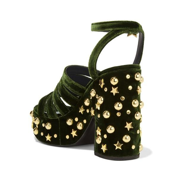 women-s-green-and-black-rivets-chunky-heels-ankle-strap-sandals