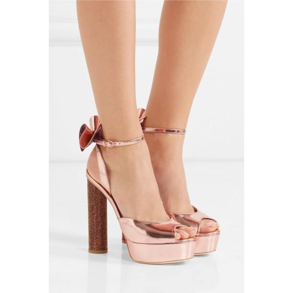 pink-dress-shoes-bow-chunky-heel-plaform-sandals-for-bridesmaid
