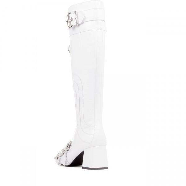 Buckles Zipper Knee-High Boots-3