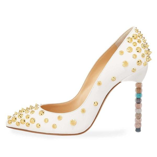 white-gold-studs-shoes-stiletto-heel-pumps