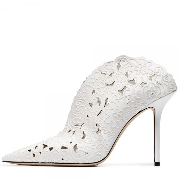 white-hollow-out-mule-heels