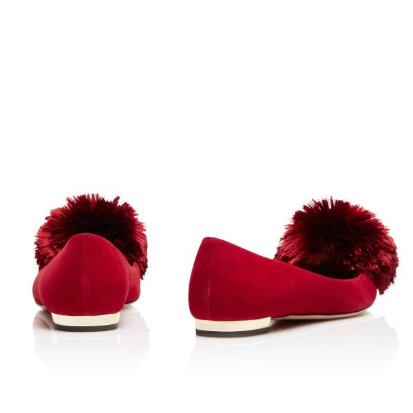 women-s-burgundy-pointy-toe-flats-suede-shoes-with-fur-balls