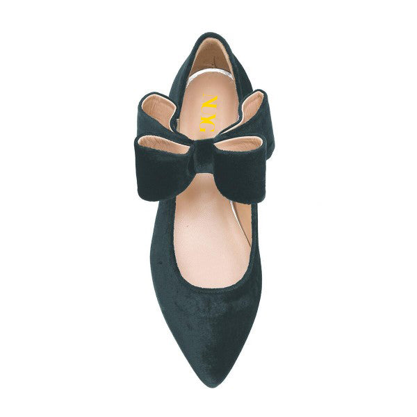 Velvet Bow Pointed Toe Flats