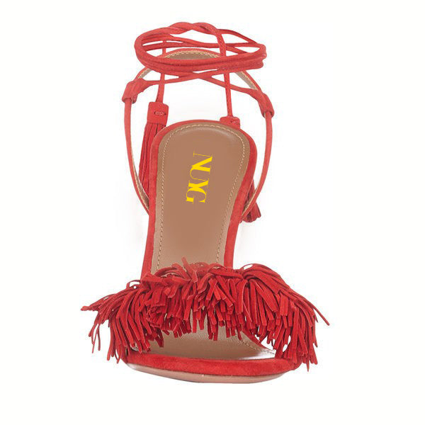 Red Fringe Tassels Strappy Sandals