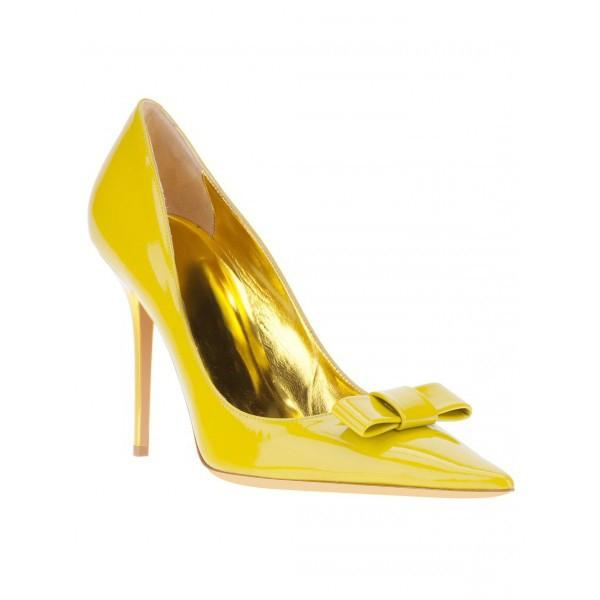 yellow-stiletto-heels-front-bow-pointed-toe-cute-pumps
