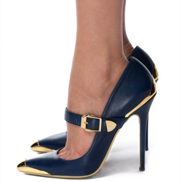 navy-and-gold-heels-metal-stiletto-heels-vintage-mary-jane-pumps