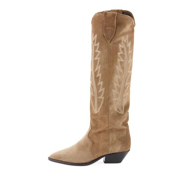 khaki-chunky-heels-boots-suede-pointy-toe-knee-high-cowgirl-boots