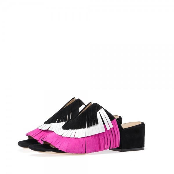 multi-color-suede-block-heel-mules-tassel-fringe-open-toe-sandals