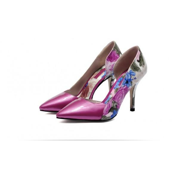 Floral Print Stiletto Heel Pumps #2-3