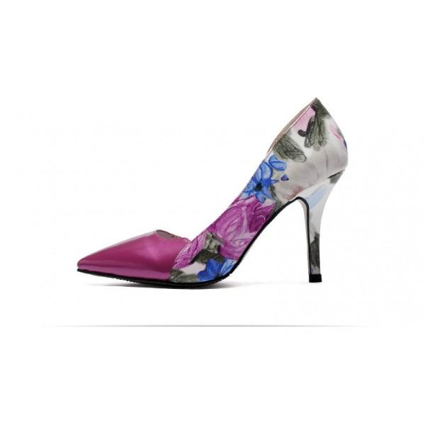Floral Print Stiletto Heel Pumps #2-4