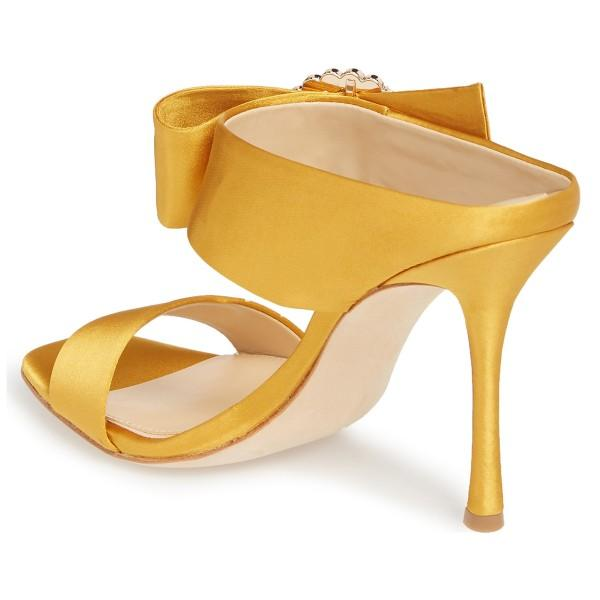 yellow-satin-cut-out-buckle-rhinestone-mule-sandals