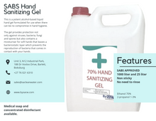 70% Alcohol SABS Approved Terminal Hand Sanitizer Refill (2 Liter)