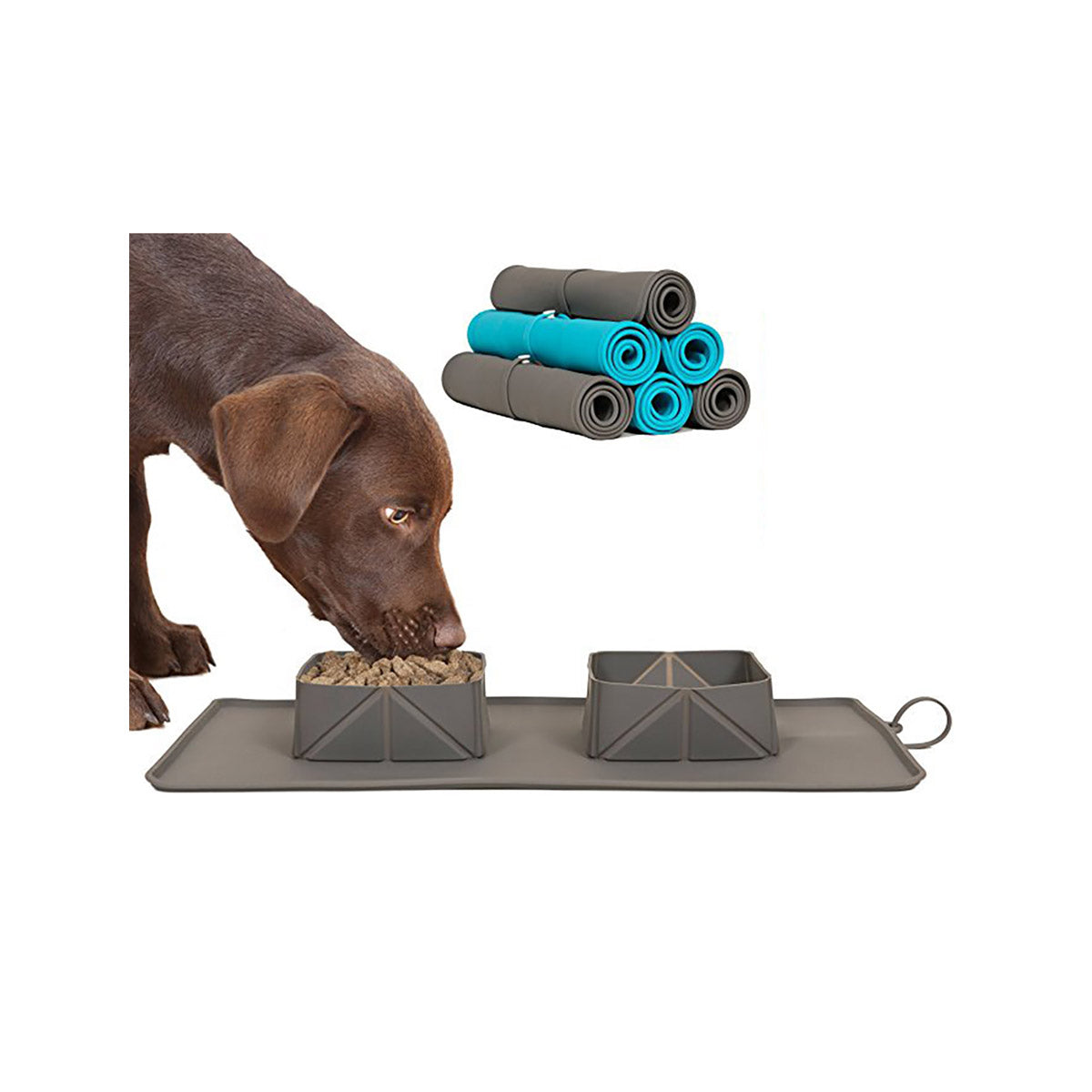 Rollabowl - Foldable Silicone Pet Feeding Mat with Built-in Feeding Bowls