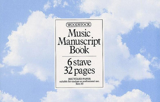Woodstock: Music Manuscript Book: 6 Stave 32 Pages (Recycled Paper)