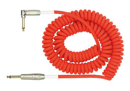 Kirlin Premium Coil Instrument Cable - Straight to Angled - 30ft - Red