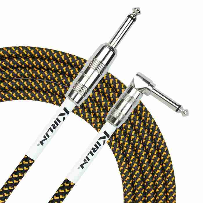 Kirlin Fabric Series Instrument Cable - Straight to Angled - 10ft - Black & Yellow