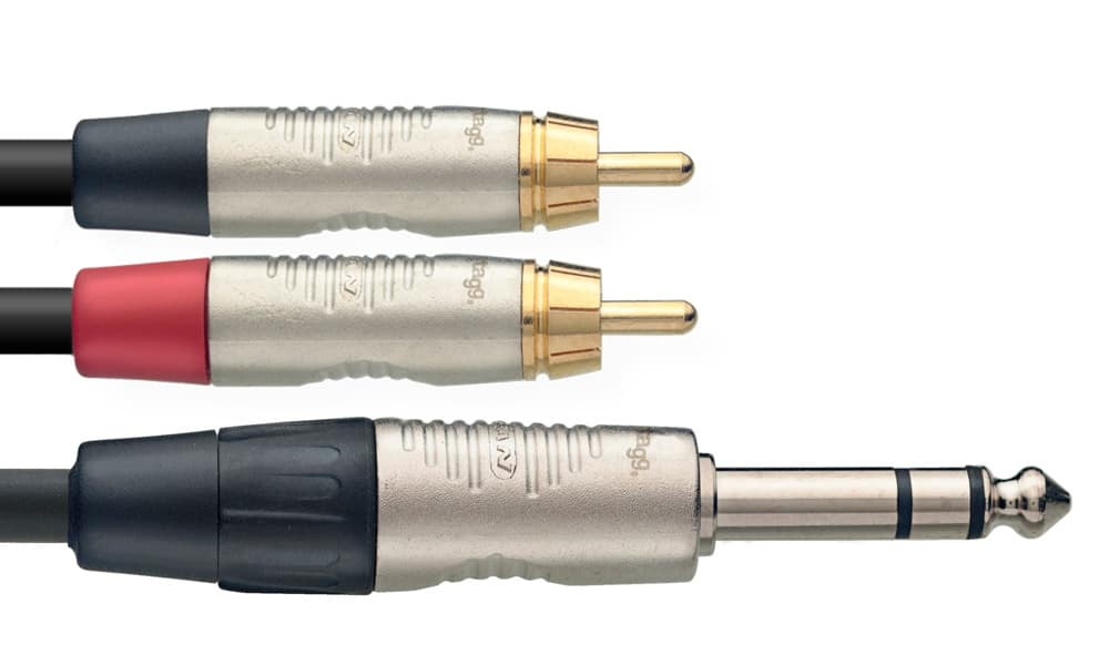 Stagg N Series - Stereo 1/4 Inch Jack to 2 x Male RCA/Phono Cable - 3m/10ft