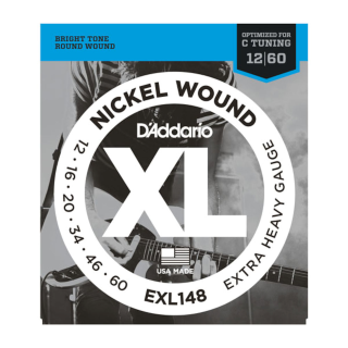 D'Addario XL Nickel Electric Guitar Strings - EXL148 - 12-60 Extra Heavy Set