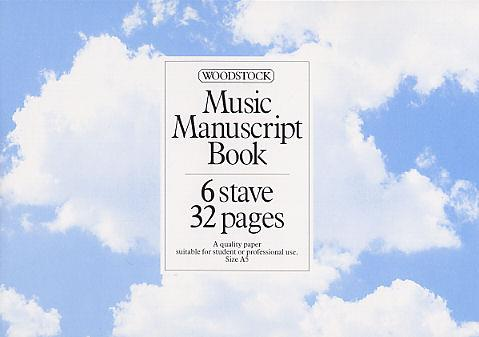 Woodstock: Music Manuscript Book: 6 Stave 32 Pages Stitched