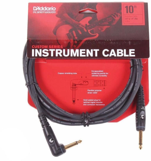 D'Addario Planet Waves Custom Series Instrument Cable - Straight to Angled - 10 ft