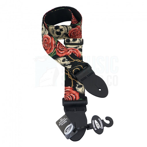 Leathergraft Liverpool - Graphic Webbing Guitar Strap - Skulls & Roses
