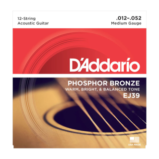 D'Addario Phosphor Bronze Acoustic Guitar Strings - EJ39 - 12-52 Medium 12 String Set