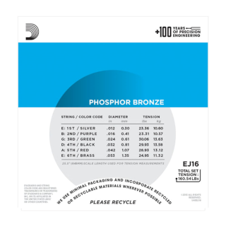 D'Addario Phosphor Bronze Acoustic Guitar Strings - EJ16 - 12-53 Regular Light Set