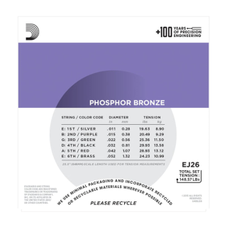 D'Addario Phosphor Bronze Acoustic Guitar Strings - EJ26 -  11-52 Custom Light Set