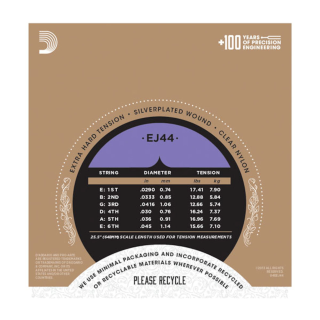 D'Addario Pro-Arté Nylon Classical Guitar Strings - EJ44 - Extra Hard Tension