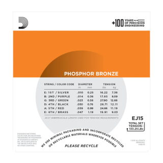 D'Addario Phosphor Bronze Acoustic Guitar Strings - EJ15 - 10-47 Extra Light Set