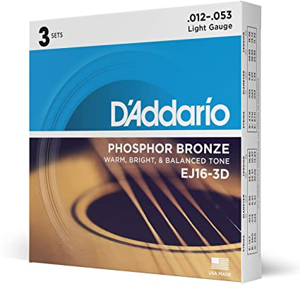 D'Addario Phosphor Bronze Acoustic Guitar Strings - EJ16-3D - 12-53 Regular Light 3 Pack