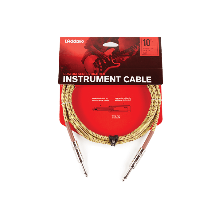 D'Addario Custom Series Braided Instrument Cable - Straight to Straight - 20ft - Tweed