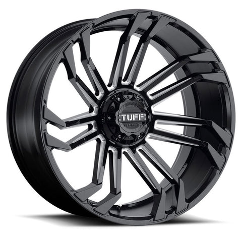 TUFF T21 GLOSS BLACK W/ MILLED SPOKES