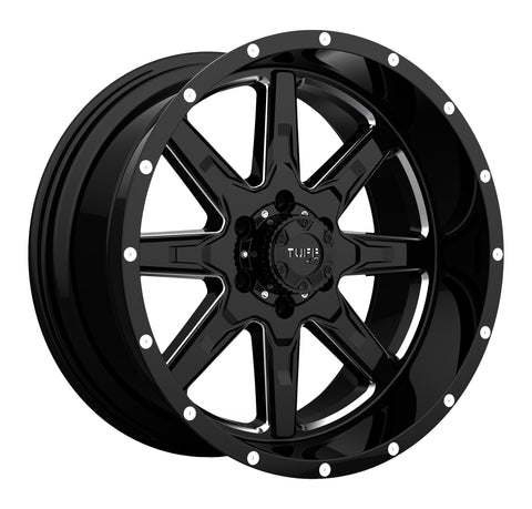 TUFF T15 GLOSS BLACK W/ MILLED SPOKES