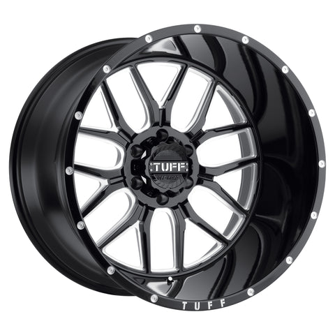 TUFF T23 GLOSS BLACK W/ MILLED SPOKES AND DIMPLES