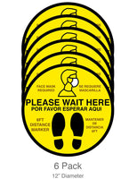 "Social Distancing 12"" Bilingual Floor Decals for Waiting Lines (6-pack)"