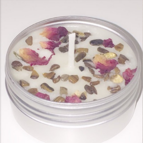 Red Eye Tiger Crystals Soy Wax Candle Travel Tin