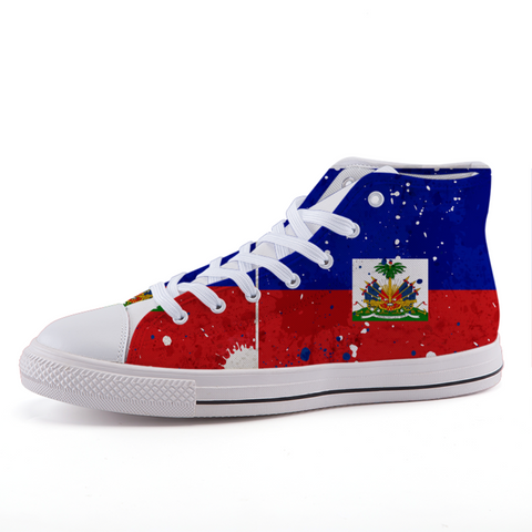 Haitian Flag High-top  canvas shoes