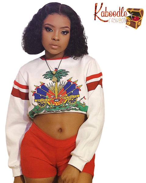 Best of Both World Coat of Arm  Two Piece Crop Top  and Short