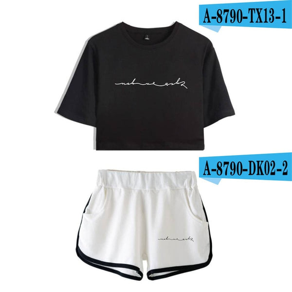 GOT 7 100% Cotton Sets Woman short sleeve Girls Streetwear Crop Top Women Popular Preppy style sets sexy Dew kawaii cloth