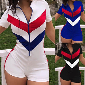 Sexy Zipper Short Sleeve Stitching Color Shorts Bodysuit Playsuit Casual Black Blue White Women Jumpsuit Sexy Shorts Rompers -8