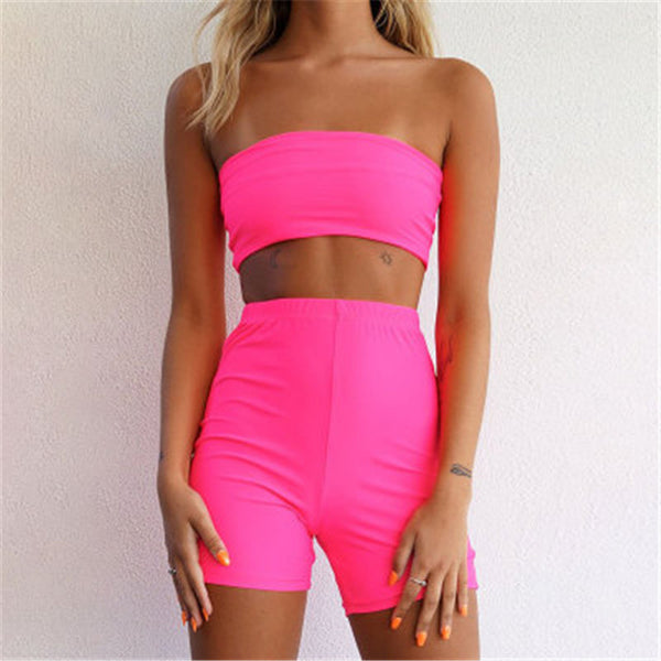 2019 New Summer Women 2 Piece Sets Fitness Sports Tracksuit Strapless Crop Top Bodycon Shorts Club Party Two Piece Set Clothes
