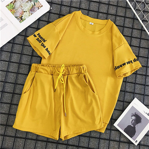 Summer 2 Pieces Set Women Red Yellow Student Two Set Casual  Letter Print Tops + Elastic High Waist Drawstring Shorts Female