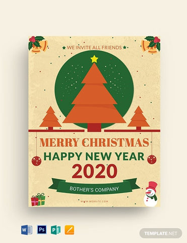 Free Office Christmas Party Flyer Template - Zipsite
