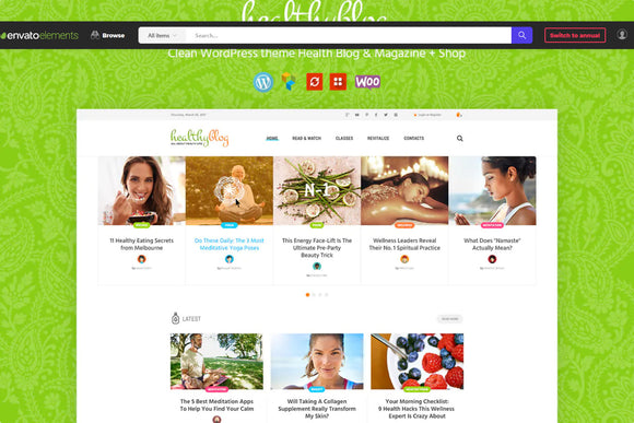 Healthy living wp theme