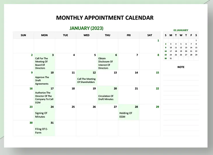Free Appointment Monthly Calendar Template - Zipsite