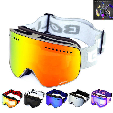 Ski Goggles with Magnetic Double Layer Polarized Lens Anti fog UV400